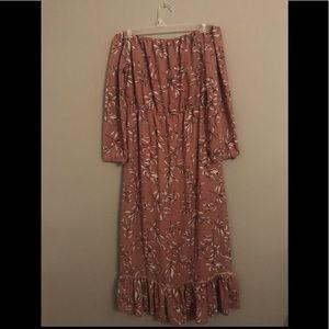 Off the Shoulder Ankle length Boho Chic Dress